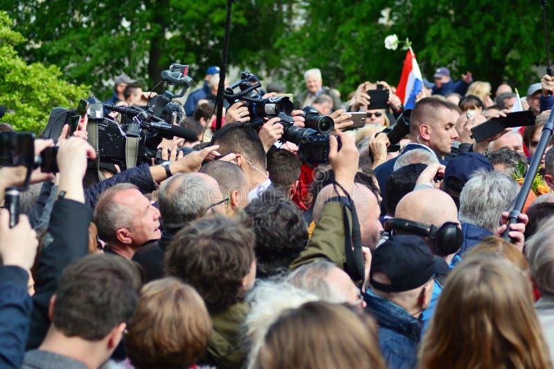 欢迎的人们欧洲理事会的总统 免版税库存照片