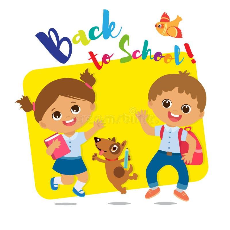 欢迎的回到学校 逗人喜爱的男生和女孩有书和书包的 向量例证