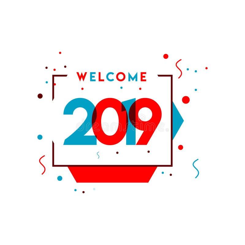 欢迎2019传染媒介模板设计例证 向量例证