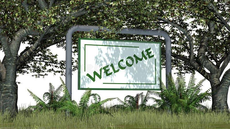 欢迎-签字与在树之间的文本在公园 向量例证