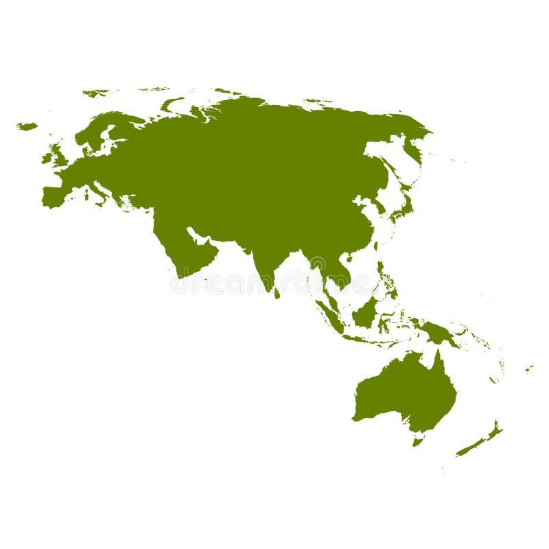 欧亚大陆映射剪影 向量例证