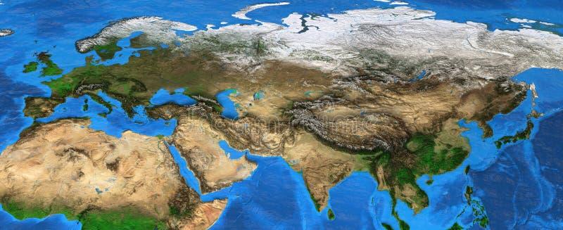 欧亚大陆-欧洲和亚洲的高分辨率地图 免版税图库摄影