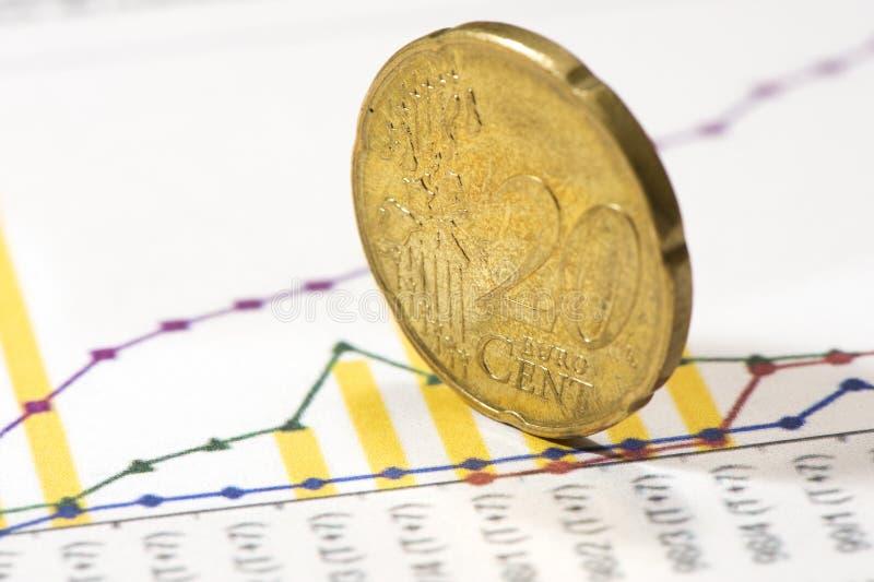 欧元二十分硬币特写镜头 免版税库存图片