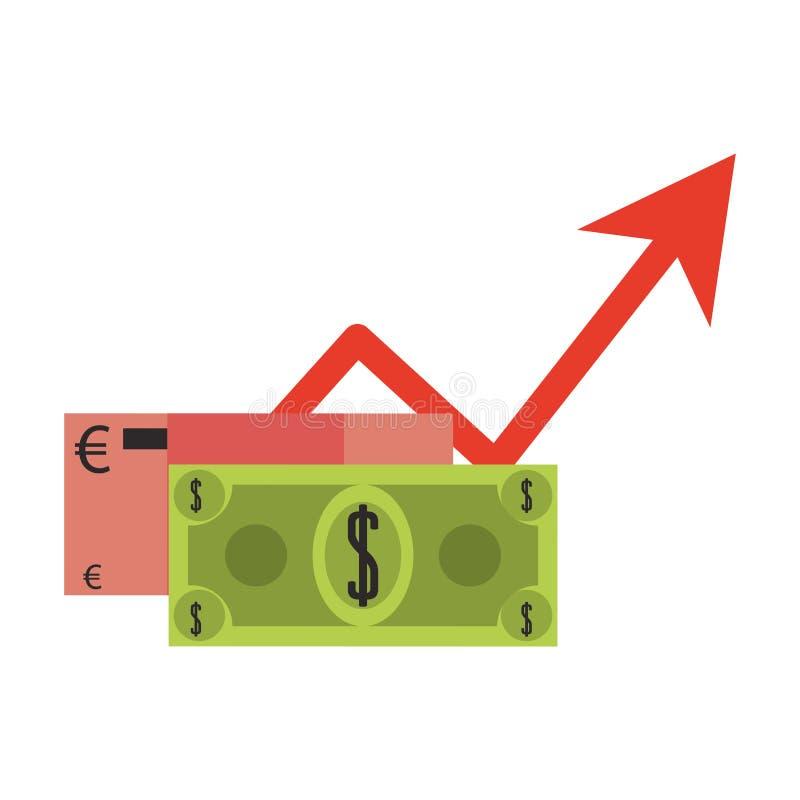 欧元和美元货币增长的标志 库存例证