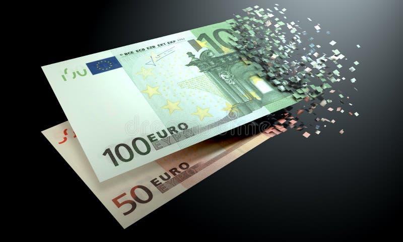 欧元在黑背景消失 库存照片