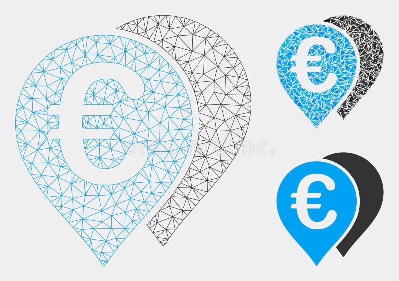 欧元地图标志导航滤网尸体模型和三角马赛克象 库存例证