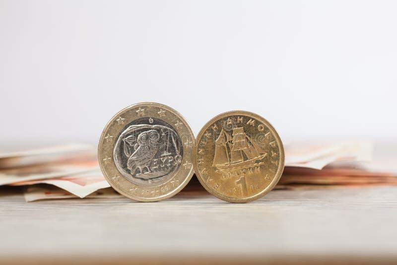 欧元或德拉克马 库存图片