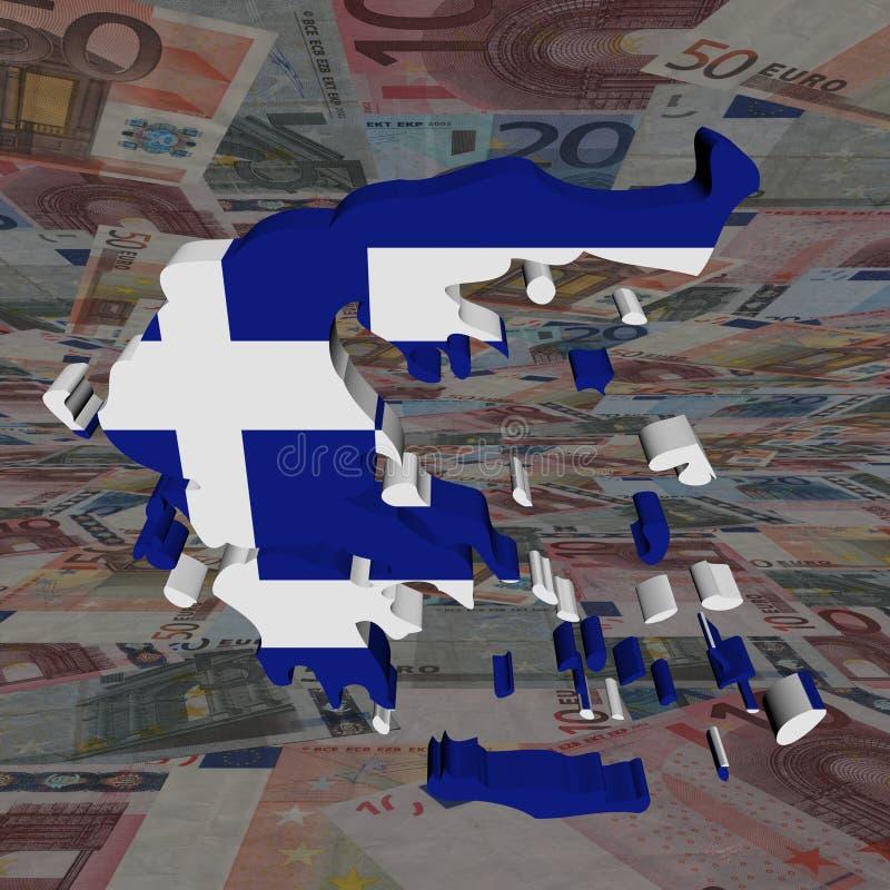 欧元标志希腊映射透视图 向量例证