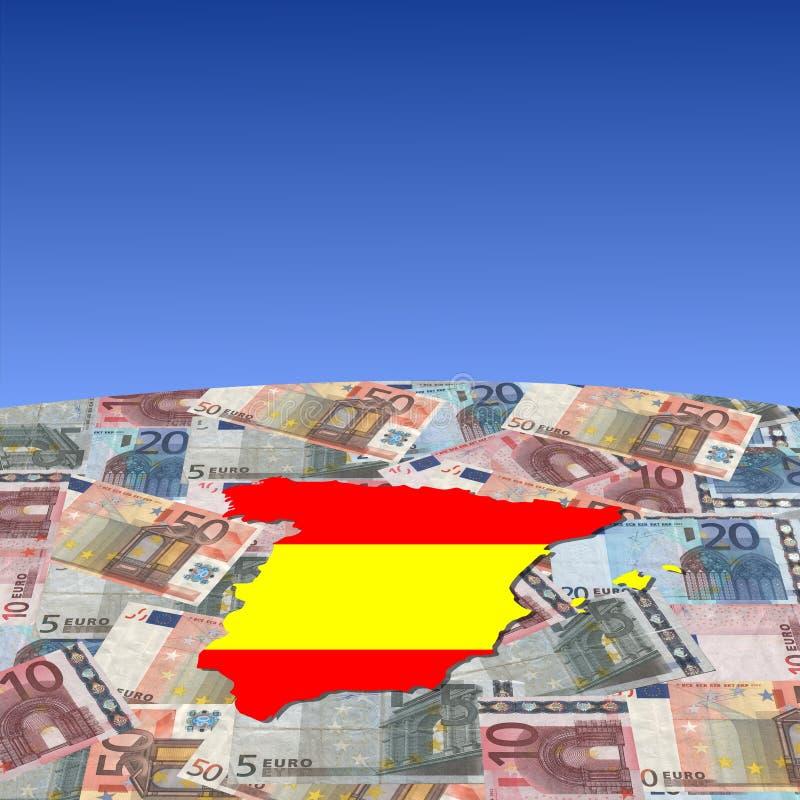 欧元标志映射西班牙 皇族释放例证