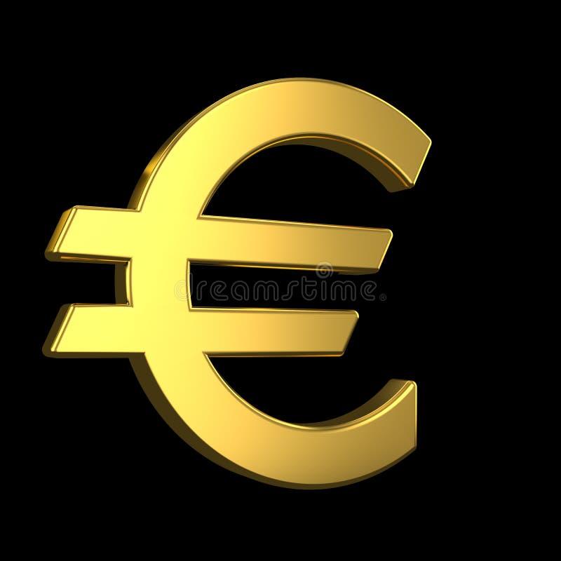 欧元标志 3d在黑背景的金黄欧元标志 3d?? 向量例证