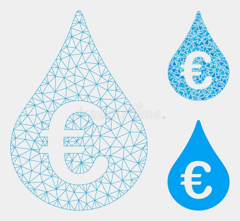 欧元燃料下落传染媒介滤网第2个模型和三角马赛克象 向量例证