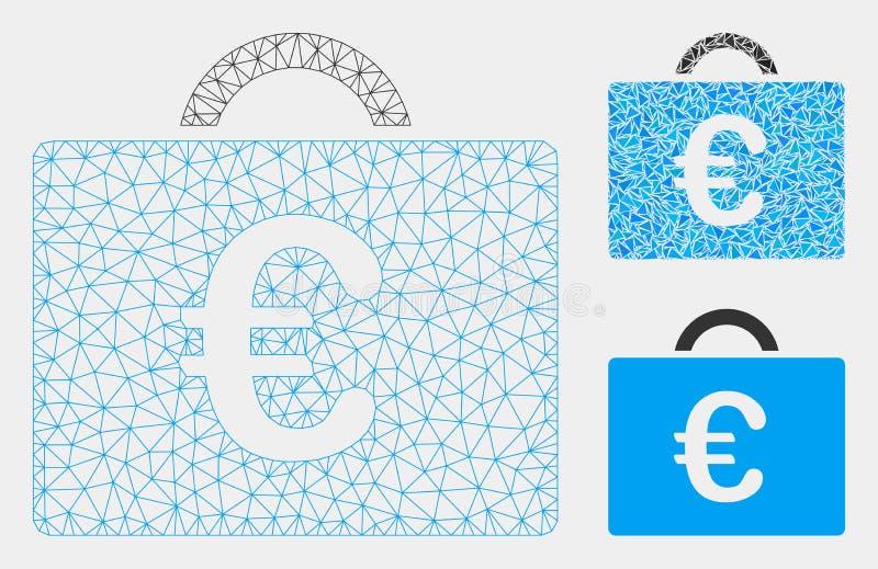 欧元簿记案件传染媒介网状网络模型和三角马赛克象 库存例证
