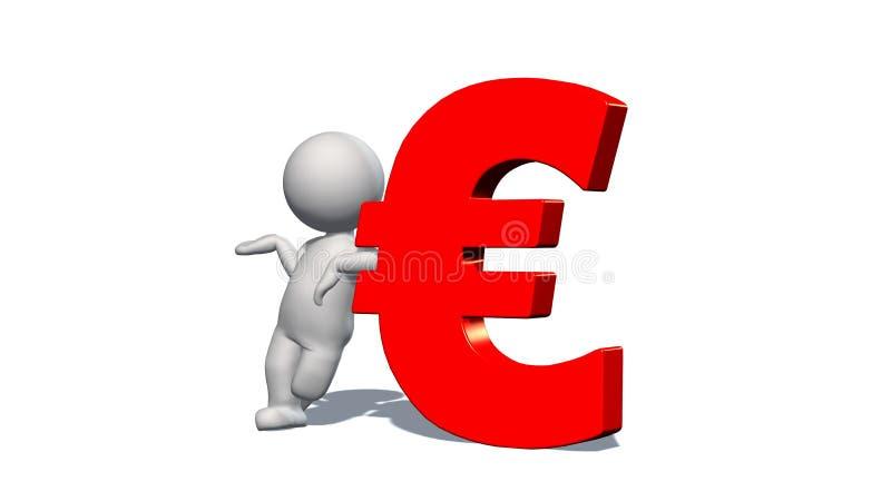 欧元货币符-有红色欧元标志的白3D人 向量例证