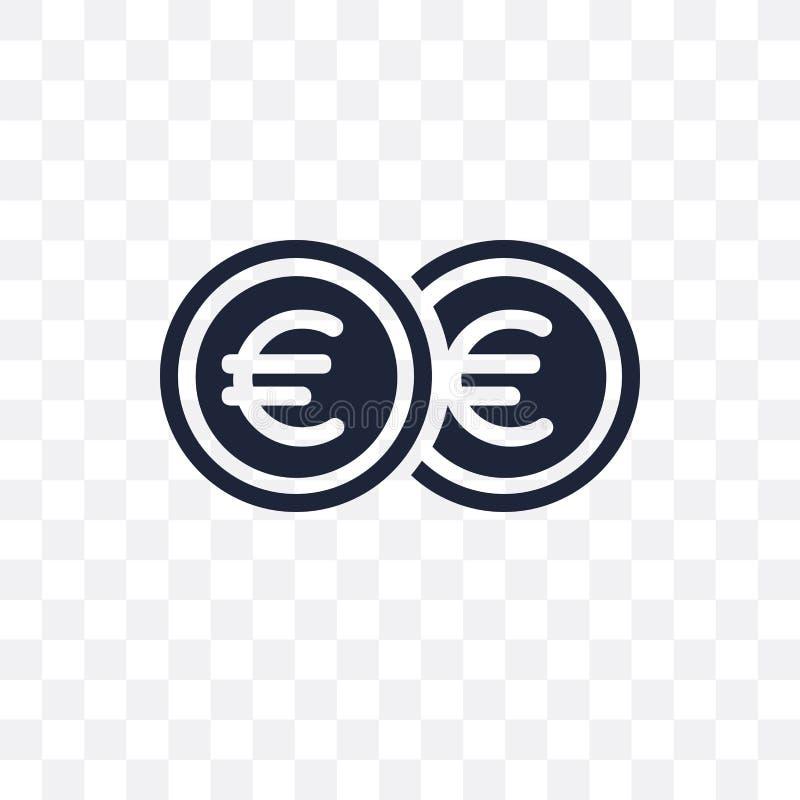 欧元透明象 从付款collectio的欧元标志设计 向量例证
