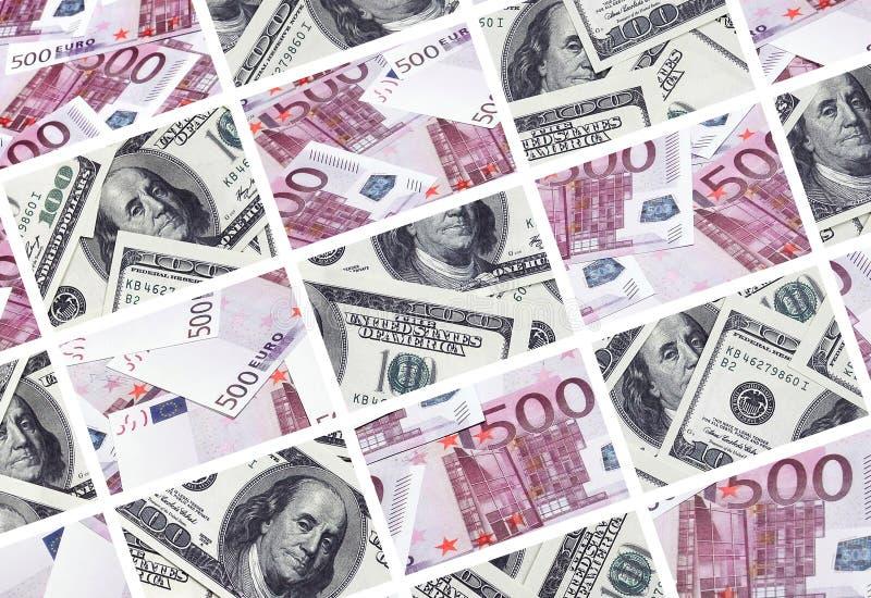欧元钞票的许多图象拼贴画在衡量单位的1 免版税库存图片