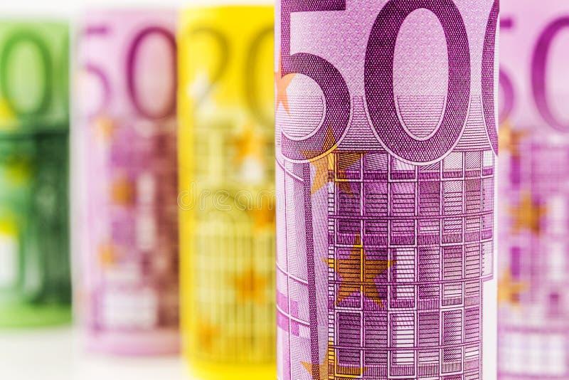 500欧元滚动的钞票特写镜头视图  库存照片