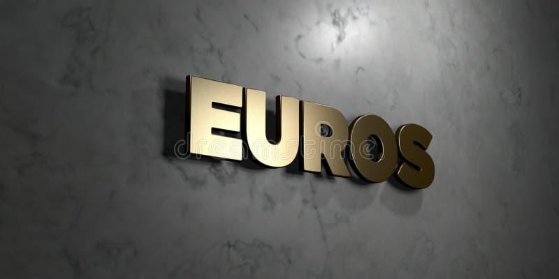 欧元-在光滑的大理石墙壁登上的金标志- 3D回报了皇族自由储蓄例证 库存例证