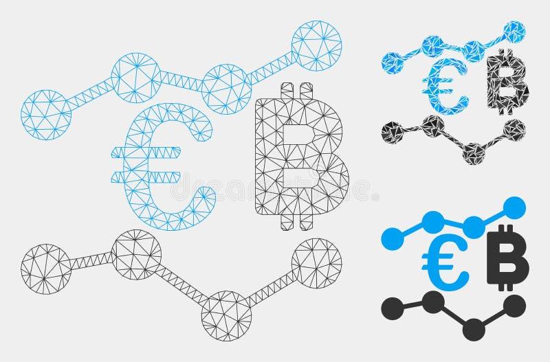 欧元Bitcoin绘制传染媒介滤网尸体模型和三角马赛克象图表 皇族释放例证