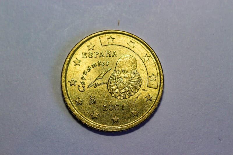 50欧分金子颜色硬币 库存图片