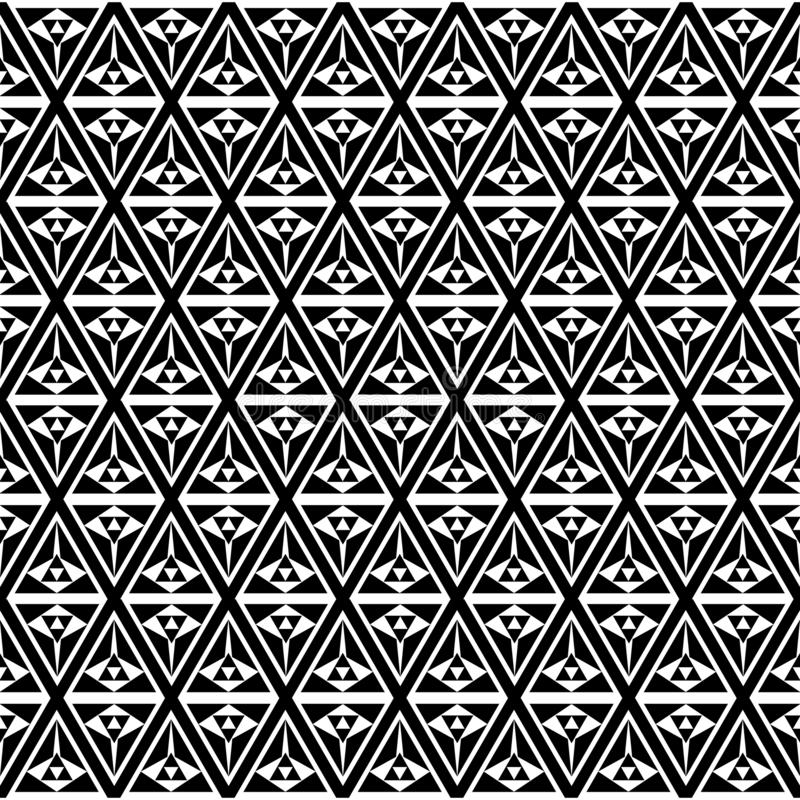 欧普艺术黑白三角样式背景 库存例证