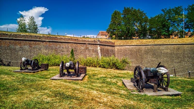 欧洲中世纪强的堡垒防御大炮 库存照片