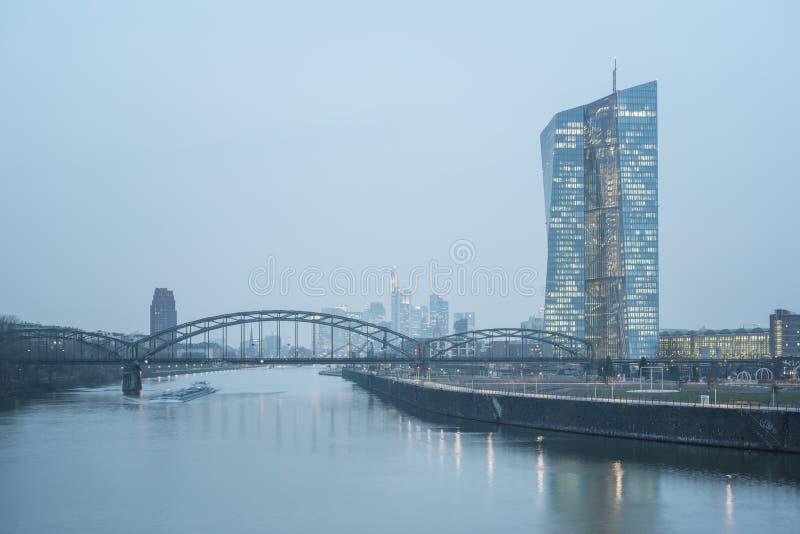欧洲中央银行,美因河畔法兰克福 免版税图库摄影
