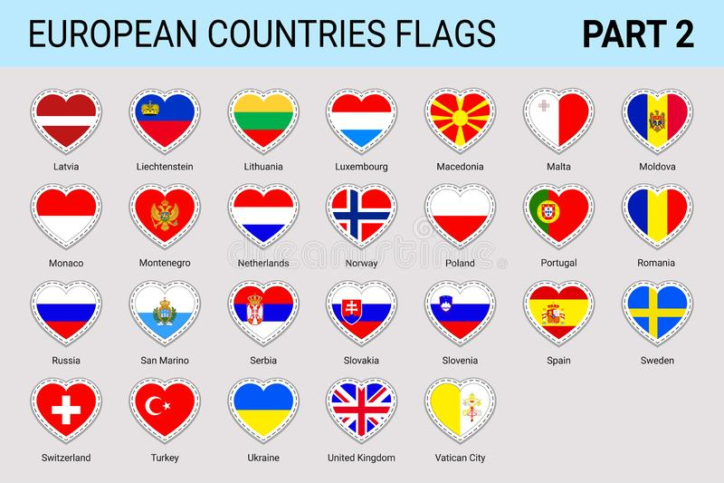 欧洲人被设置的旗子贴纸 传染媒介欧洲人下垂汇集 与国名的国家标志 时髦爱国设计ele 向量例证