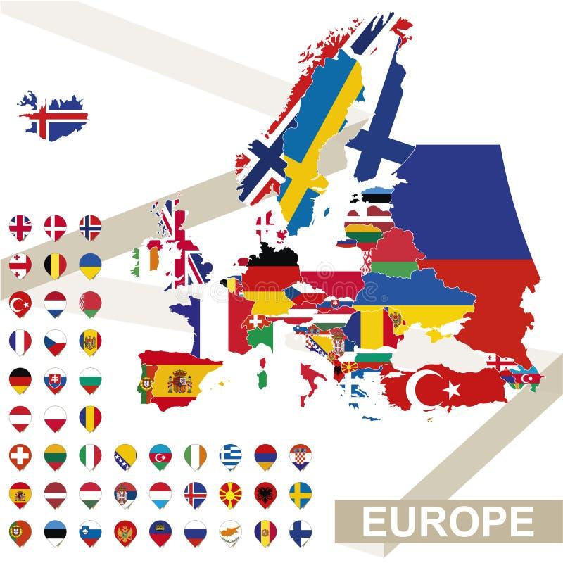 欧洲传染媒介地图有旗子的 向量例证