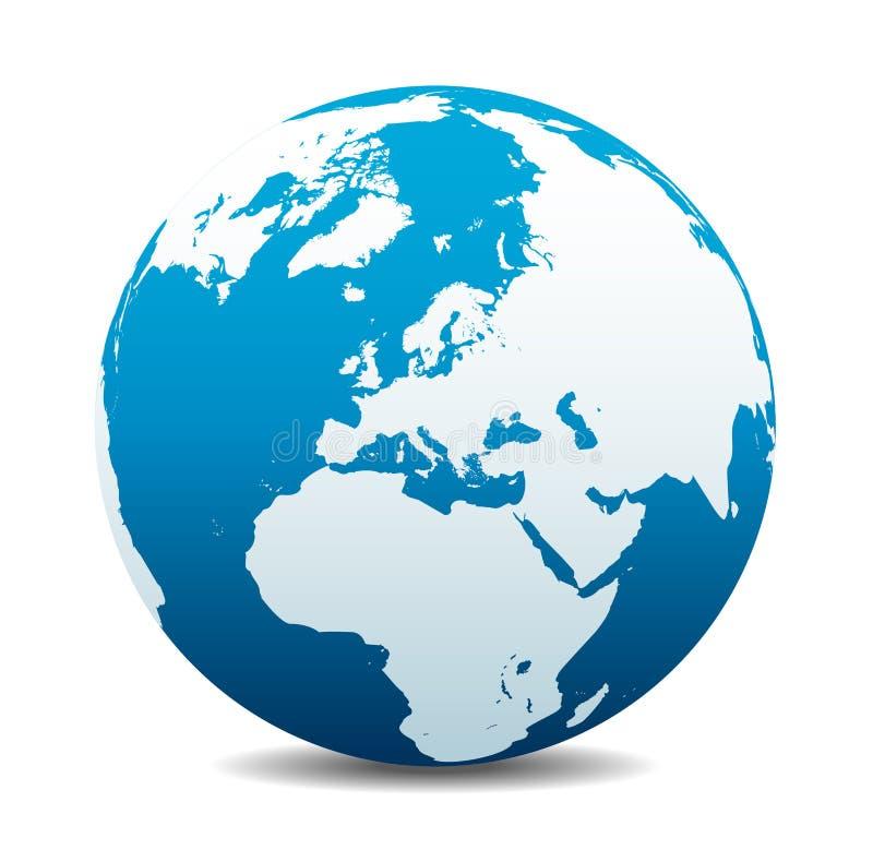 欧洲全球性世界,欧洲,中东,北非,俄罗斯 向量例证