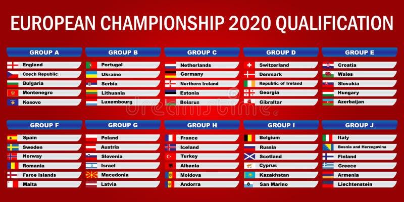 欧洲冠军2020年 鉴定 向量例证