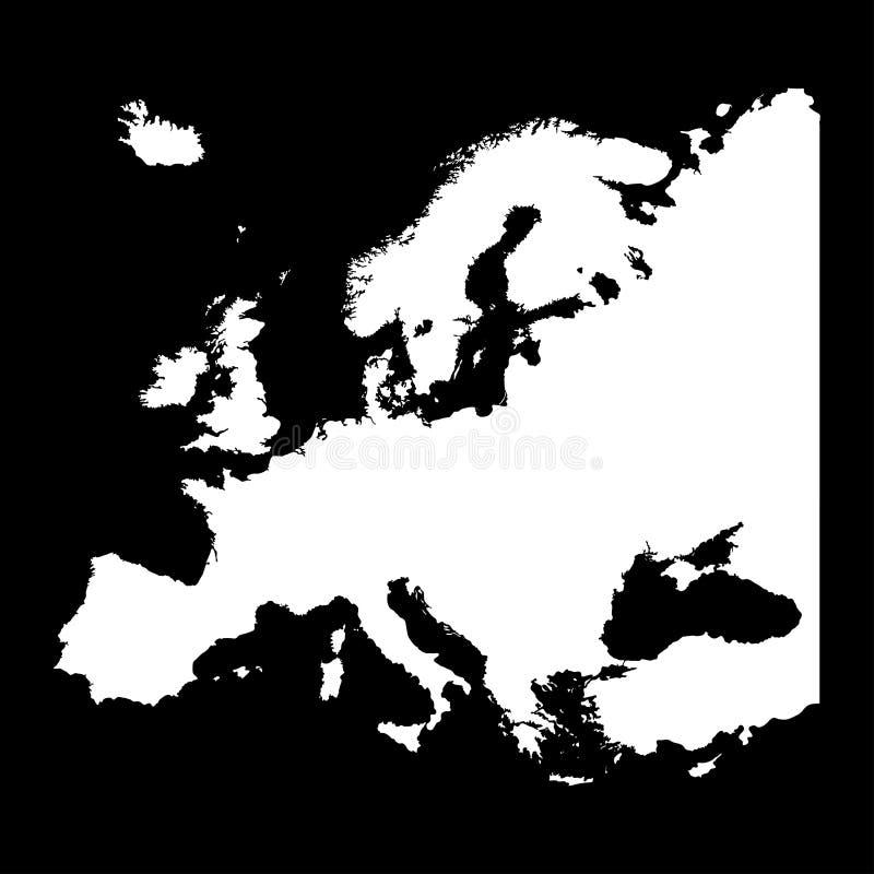 欧洲剪影在黑色的设计孤立地图  向量例证
