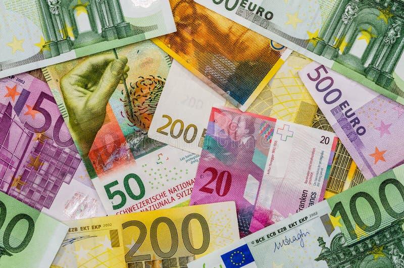 欧洲和瑞士法郎金钱 图库摄影
