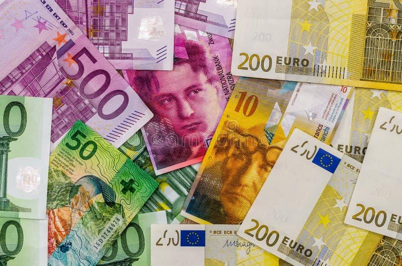 欧洲和瑞士法郎金钱 免版税库存照片