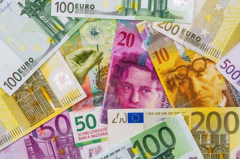 欧洲和瑞士法郎monmey 库存图片