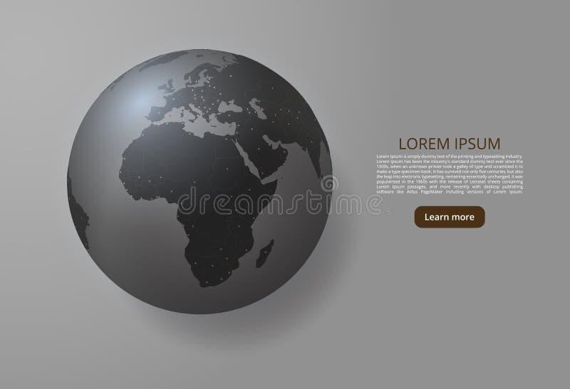欧洲和非洲世界地图  一张全球性地图的传染媒介图象以世界城市或人口密度的形式 皇族释放例证