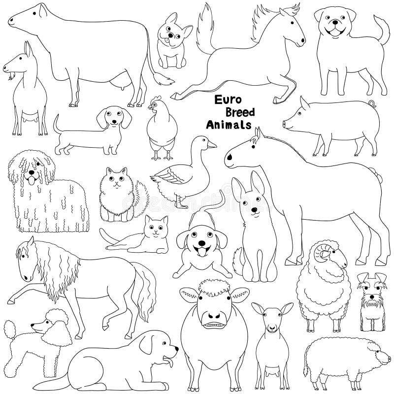 欧洲品种家畜乱画  向量例证