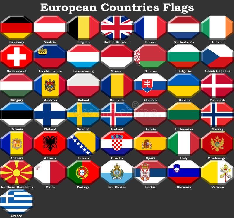 欧洲国家旗子 库存例证