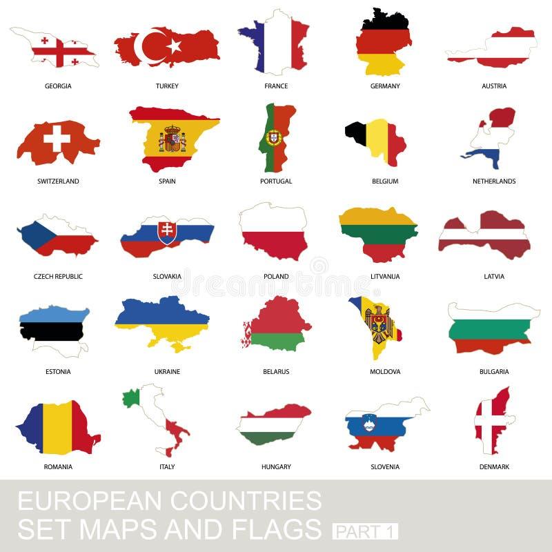 欧洲国家集合、地图和旗子 库存例证