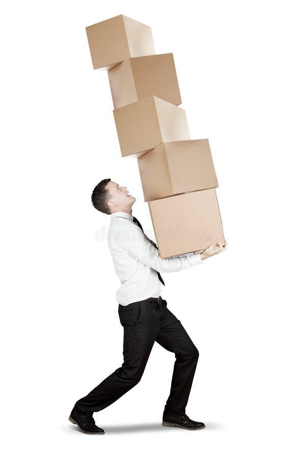 欧洲在演播室的商人运载的箱子 库存照片