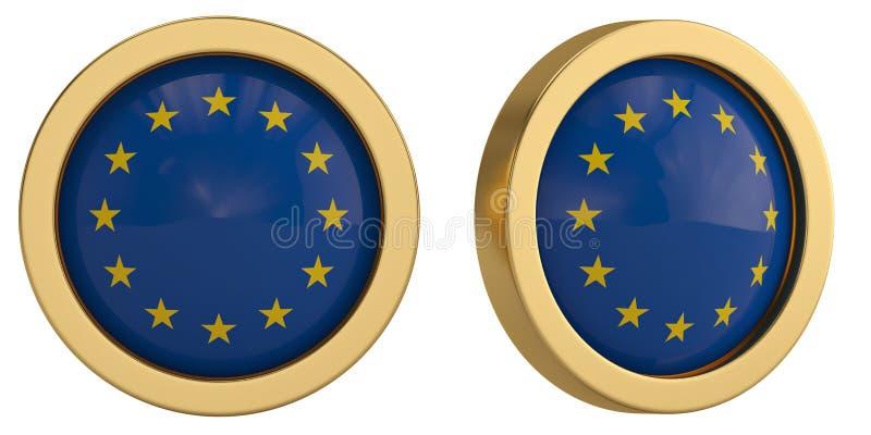 欧洲在白色背景隔绝的旗子标志 3d例证 向量例证
