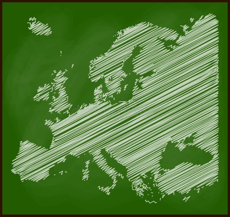 欧洲在黑板传染媒介学校背景设计的地图白垩 向量例证