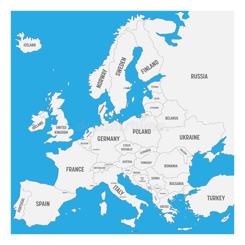 欧洲地图有主权国家,包括的超小国家的名字的 在白色背景的被简化的黑传染媒介地图 库存例证