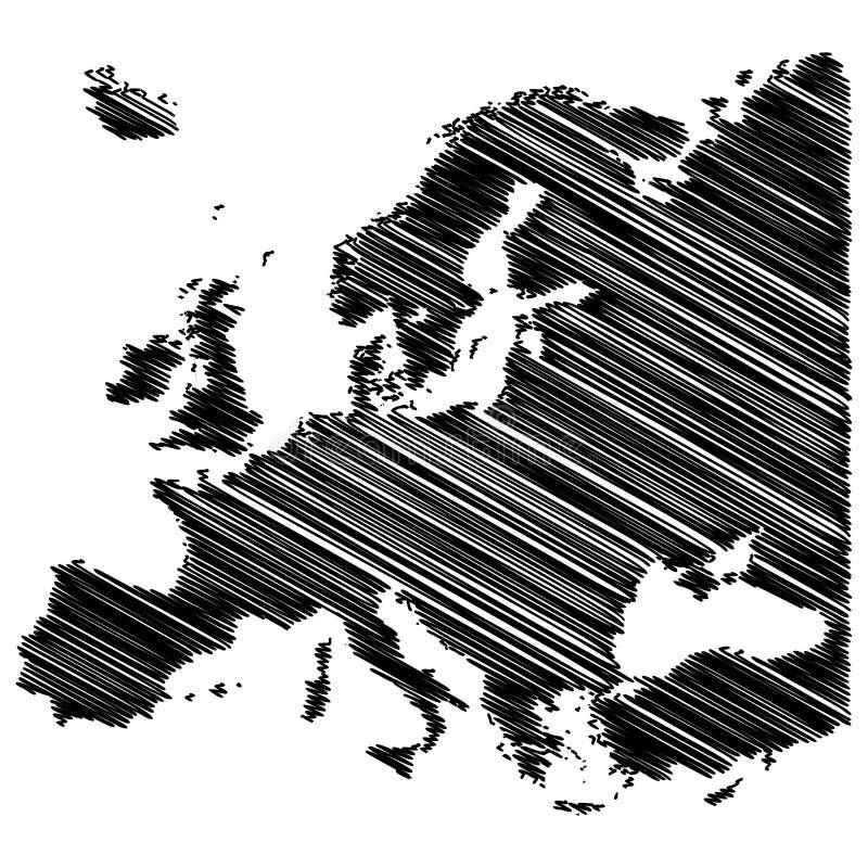 欧洲地图杂文概念在白色后面隔绝的传染媒介设计 皇族释放例证