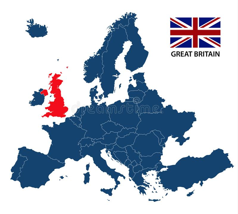 欧洲地图的例证和被突出的大英国 库存例证