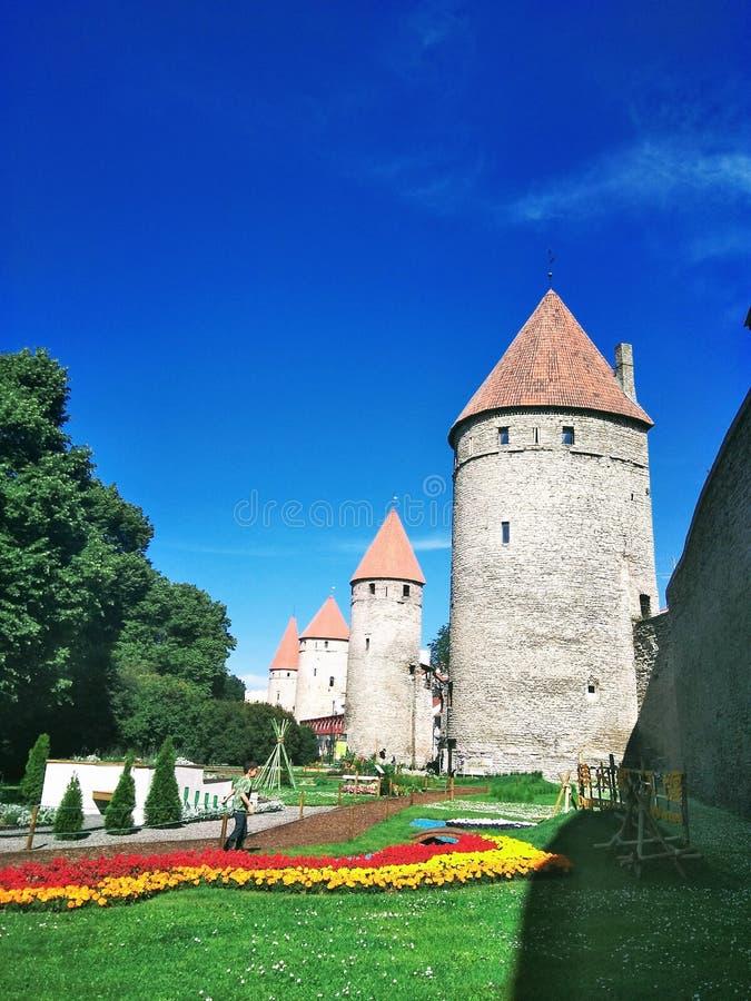 欧洲城市的美丽的景色在一个晴天 免版税库存图片