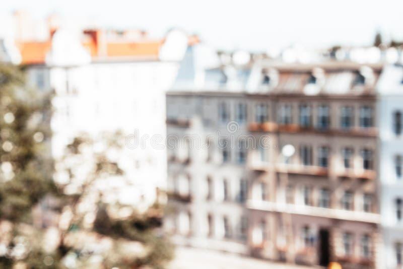 欧洲城市被弄脏的背景 免版税库存照片