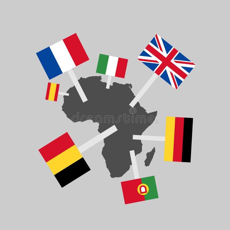 欧洲帝国主义和殖民主义在非洲 向量例证