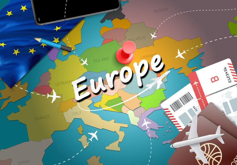 欧洲旅行概念与飞机,票的地图背景 参观欧洲旅行和旅游业目的地概念图片