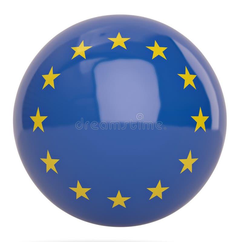 欧洲旗子在白色背景隔绝的球标志 3d illustr 向量例证