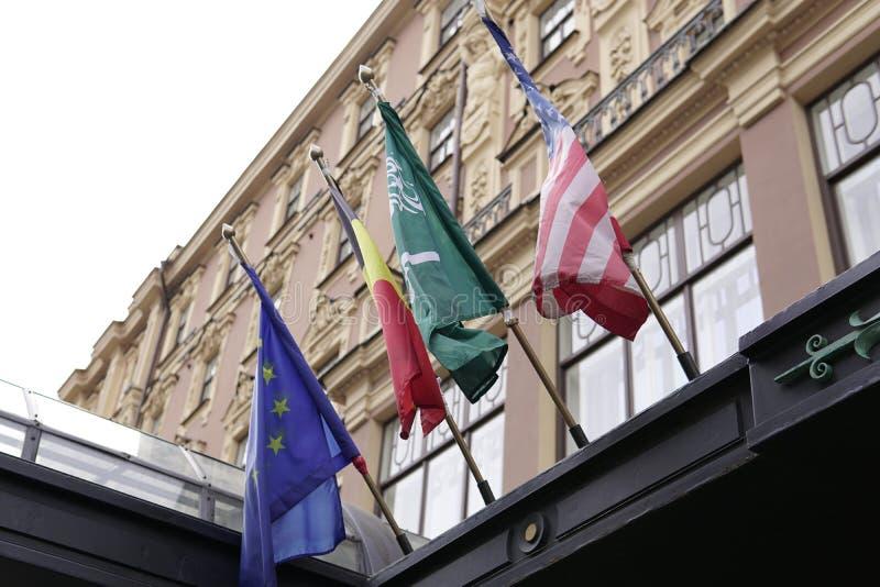 欧洲旗子德国美国和沙特阿拉伯 免版税库存图片